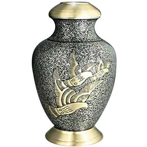 Golden Arcadia Flying Birds Funeral Urn by Meilinxu - Handcrafted and Engraved Cremation Urns for Human Ashes Adult - Hand Made in Brass - Display Burial Urn At Home or in Niche at Columbarium (Large (Medium Size Urns For Human Ashes compare prices)