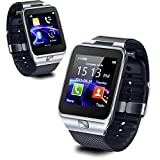 inDigi 2-in-1 Interconvertible Bluetooth Sync Smart Watch Phone w/Optional Micro SIM-Card Slot for AT&T T-Mobile Unlocked (Silver) (Color: Silver)