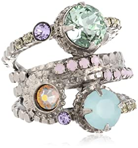 Sorrelli Mint Stacked Circular Crystal Antique Silver-Tone Adjustable Ring