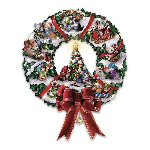 Meowy Christmas Wreath: Cat-Themed Christmas Decoration by The Bradford Exchange