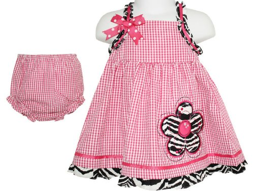 Rare Editions Baby Girls Pink Gingham Dress & Pants 2 Piece Set (24 Months)
