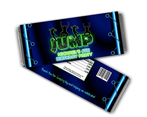 Neon Jump Candy Bar Wrappers For Boy Trampoline Birthday