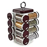 JVS Plastic Spice Rack, 100 Ml, 16-Piece, Brown