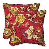 Pillow Perfect Outdoor Tamariu Alfresco Valencia Throw Pillow, 18.5-Inch, Red, Set of 2