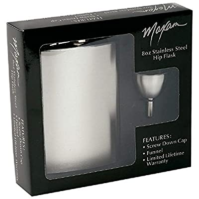 2 X Max - Hip Flask & Funnel Set - Stainless Steel, 8 Oz, 4 Pc Total