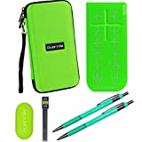 Guerrilla Hard Travel Case for TI-83 Plus, TI-84 Plus, TI-84 Plus Color Edition, TI-89 Titanium, TI-Nspire CX&CX CAS,HP50G Graphing Calculators + Guerrilla's Essential Calculator Accessory Kit, Green