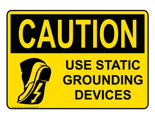 Compliancesigns Aluminum Osha Caution Sign, 14 X 10 In. With Esd / Static Info In English, Yellow