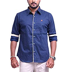 PP Shirts Men Cotton Casual Shirt ( Blue XXXXXL )