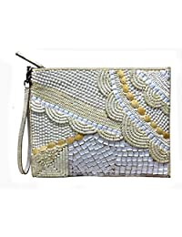 Off-White Beaded Zipper Pouch