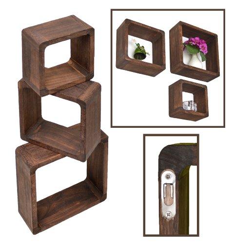 3er-Set-Lounge-Cube-Regal-Landhaus-Stil-Wandregal-Hngeregal-Massivholz-in-Dunkelbraun