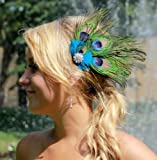 Buyinhouse Hair Care Styling Tools Cute Real Peacock Feather Hair Clip Pin Hairband- Long Tail Design
