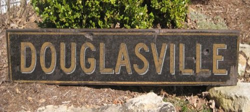 DOUGLASVILLE, GEORGIA - City Rustic Hand Painted Wooden Sign - 9.25 X 48 Inches