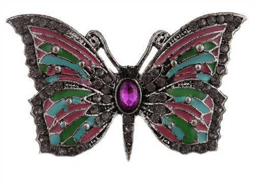 Silver  Multicolored Antique Butterfly  Stones