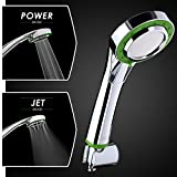 High Pressure Handheld Shower Head by Showerfy - Best For Low Pressure Water System, Low Flow Water Saving With 2 Settings - Modern Design In Chrome, Green - Great Replacement For Your Home!