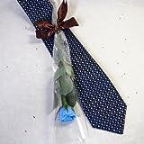 プリザーブドフラワー 男性へのプレゼント 京都西陣織受賞ネクタイ 花束ギフトセット ネイビー