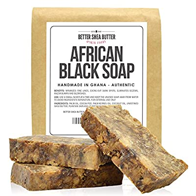 African Black Soap - Authentic & Handmade in Africa - Contains Unrefined Shea Butter to Keep Skin Soft and Moisturized - Great for Delicate, Normal and Combination Skin Types, Helps in Reducing Acne and Skin Redness - 1LB (16 oz)