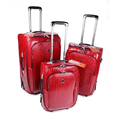 "Set of Three Croc Suitcases 18"" 22"" 26"" Travel Set Luggage Wheely Bag Suitcase - Red Set of 3"