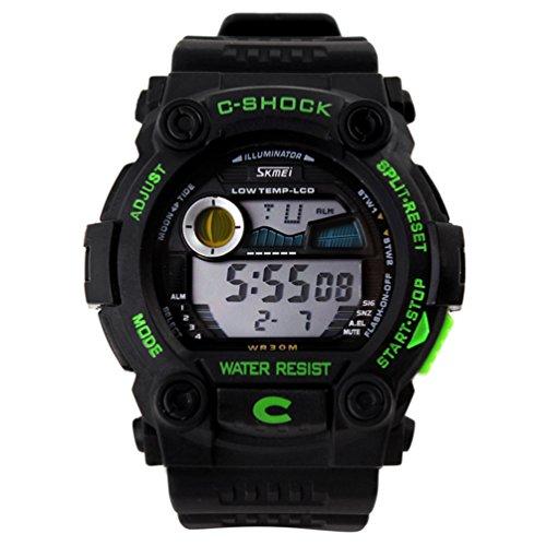 Shot-In Fashion Sports Calendar Waterproof Men Led Digital Electronic Wrist Watch Male - Green