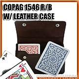 Copag Plastic Cards Leather Case Set 1546 Red/Blue Poker, Regular Index