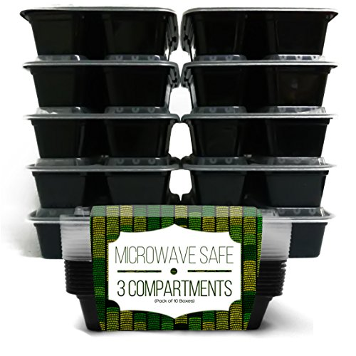 Lunch Box Bento Food Storage Container – with 3 Compartments (Sets of 10) by Enzo offers a Green No BPA, Recyclable, Microwave Safe, Dishwasher friendly, Stack-able. Easy to Clean Chinese Takeaways and other oily food. Great option for Home cooks and independent dieters. Start controlling your diet today!