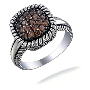 1/2 CT Chocolate CZ Champagne Ring In Sterling Silver In Size 6 (Available In Sizes 5 - 9)