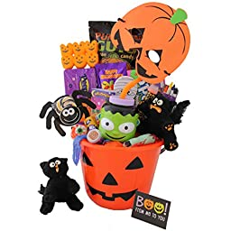 SAY BOO - NO TRICKS, ONLY TREATS - HALLOWEEN CANDY AND ACTIVITY GIFT BASKET FOR KIDS