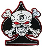 Skull And & Crossbones 13th of Spade Embroidered iron on Biker Patch BIG