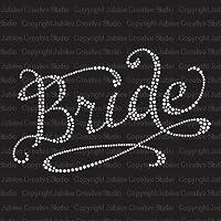 Romantic Bride Iron On Rhinestone T-Shirt Transfer