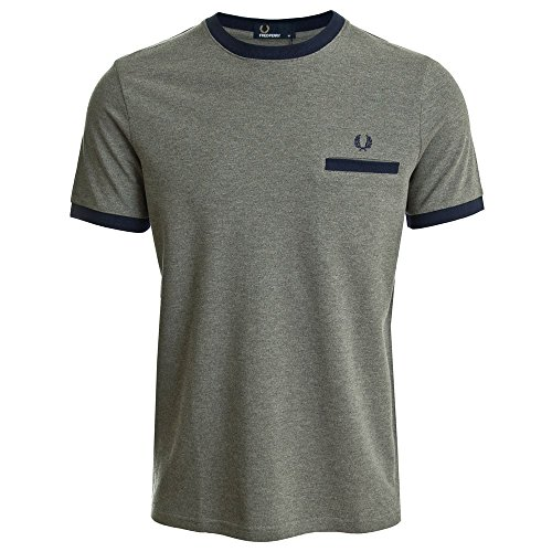 Fred Perry Men's Men's Grey Pique T-Shirt In Size M Grey