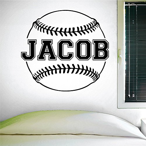 Custom Baseball Name Wall Decal, 0124, Personalized Baseball Name Wall Decal, Girls Softball, Boys Baseball, Custom Name (Boy Personalized Wall Murals compare prices)