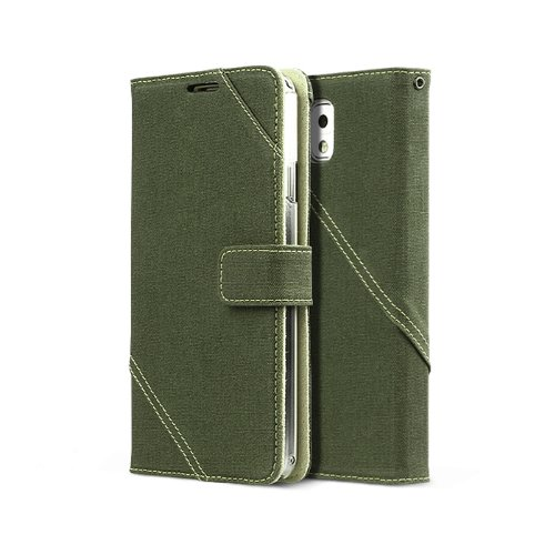 Zenus Cambridge Diary Wallet For Samsung Galaxy Note 3, Fabric Case Cover With Kickstand ( Note3, Noteiii, Note Iii ) - Khaki
