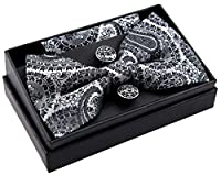 "Paisley Art Pattern Woven Pre-tied Bow Tie (5"") w/ Pocket Square & Cufflinks Gift Set"