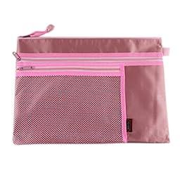 3PCS Waterproof File Pocket Document File Stationery Zipper Bag, Pink