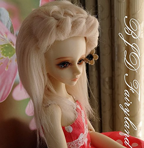 7/8 7-8inch 18-19cm BJD doll wig pink 3# long fabric fur wig for 1/4 SD Doll Dollfie antiskid [wamami] 20 white straight long wig for 1 4 msd dz dod bjd dollfie 6 7