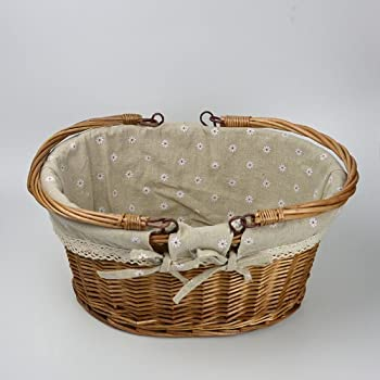 Rurality Vintage Wicker Picnic Basket with Double Folding Handles