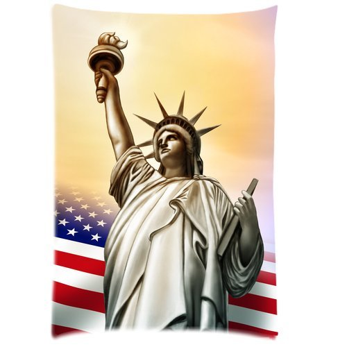Butuku Customized Statue Of Liberty With American Flag Rectangle Soft Pillow Case Standard Size 20X30 front-455616