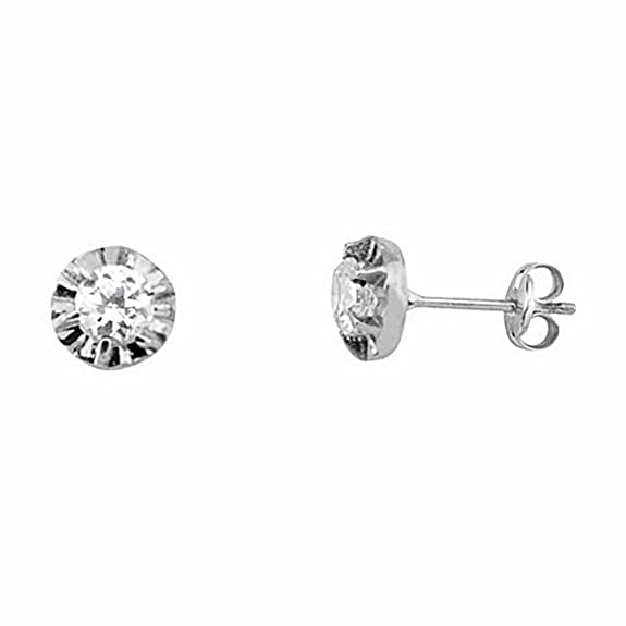 18k white gold cubic zirconia earrings claw 4,25mm. pressure [6635P]