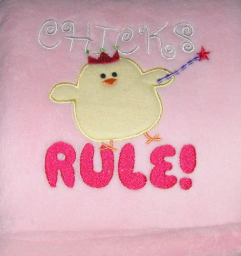 Pink Chicks Rule Crown and Wand Baby Blanket - 1