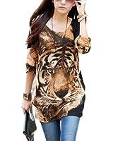 SODIAL(R) Women Tee T-Shirt Shirt Blouse Top Tiger Head Print Casual Fashion M L