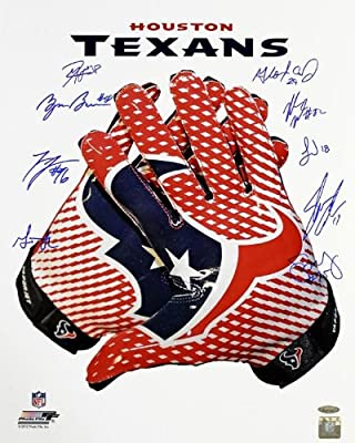 Houston Texans Autographed Logo Glove 16x20 Photo - 10 Signatures - Autographed NFL Photos