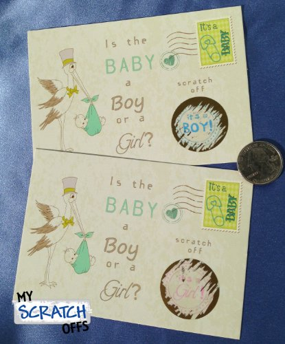 Gender Reveal Vintage Stork Sex Scratch Off Postcards & Envelopes Qty 25 (Blue~ Boy) front-150670