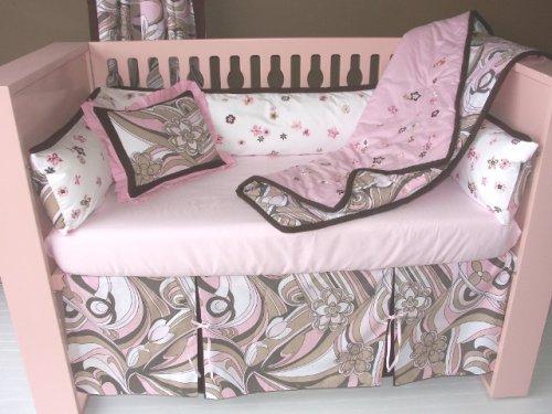 Bacati Retro Flowers Blush Pink Brown 5 Pc Crib Bedding