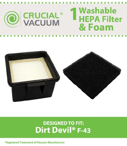 1 Dirt Devil F43 Easy Lite Cyclonic Bagless HEPA Filter and Foam vacuum cleaner Filter; Replaces Dirt Devil Part # F43 2PY1105000 (2-PY1105-000) and 1PY1106000; Designed and Engineered by Crucial Vacuum (Dirt Devil Ud20005 Filter compare prices)