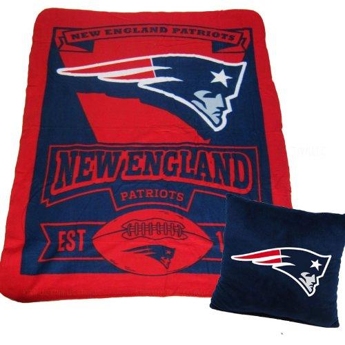 A Set Of 2 Piece Gift Set: 1 Nfl Team Pillow And 1 Nfl Fleece Throw Team Blanket - New England Patriots