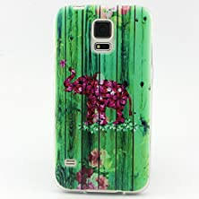 buy S5 Case, Galaxy S5 Case, Easytop Premium Flexible Ultra Slim Fit Tpu Soft Rubber Protective Skin Fashion Style Colorful Painted Back Cover Case For Samsung Galaxy S 5 (Flower Elephant)