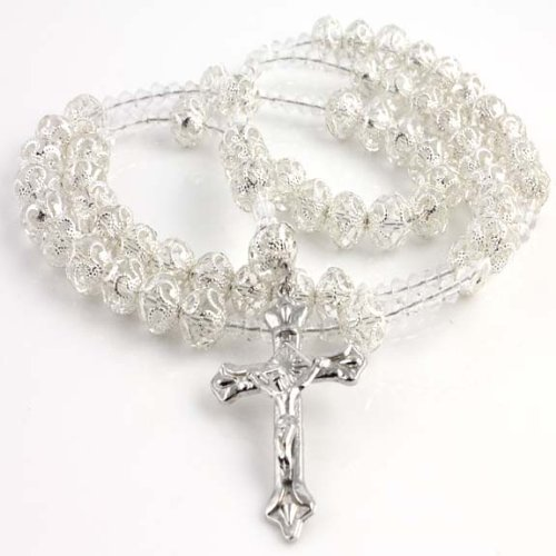 CATHOLIC CRUCIFIX CLEAR DIAMOND CUT BEAD ROSARY SILVER DESIGN FINISH NECKLACE 40