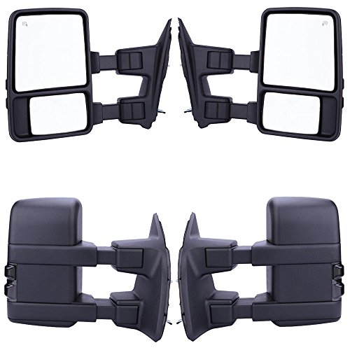 GZYF Pair Power Towring mirrors for * 2008-2016* Ford F250 F350 F450 F550 Super Duty Heated Function SMOKE Turn Signals Fold Telescoping 08 - 15 (2014 F250 Tow Mirrors compare prices)