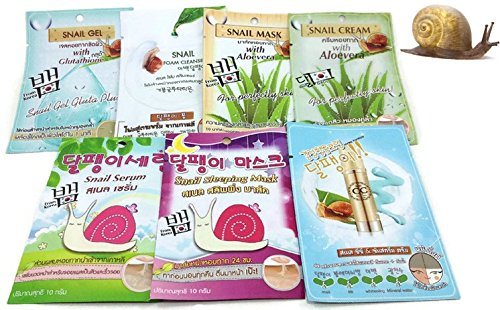 70ml SNAIL Series (GEL+FOAM+MASK+CREAM+SERUM+Sleeping Mask+BB Cream) for Anti-wrinkle, Mitigate Spots and Blemish, Soften,Natural,Care,pure,Skin,Brightening Skin,nutrition,moisturizing, elastic, Siam-Mana, Thai-Mana