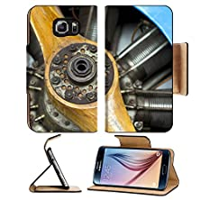 buy Msd Samsung Galaxy S6 Flip Pu Leather Wallet Case Old Aircraft Engine With Wood Propeller Vintage Plane Close Up Image 22177024