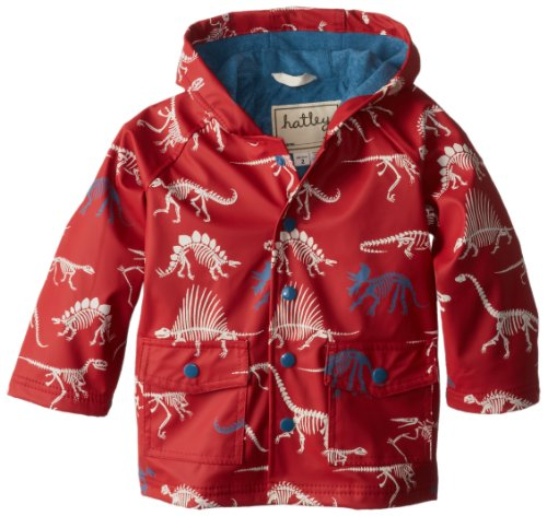 Hatley Little Boys' Little Boys' Raincoat Dino Bones, Red, 8 front-1035376